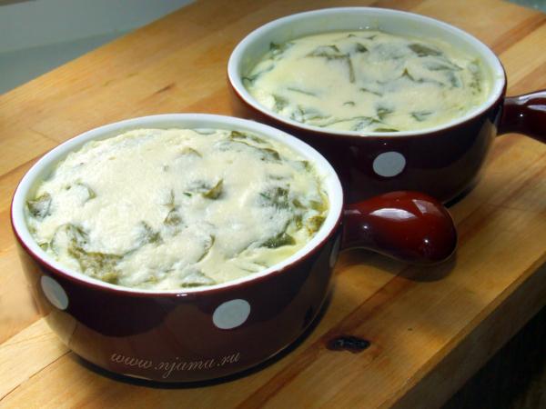 Творожно-сырное суфле со шпинатом