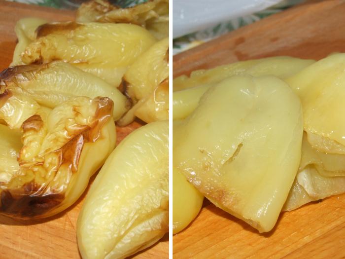Консервированный запеченный перец с помидорами