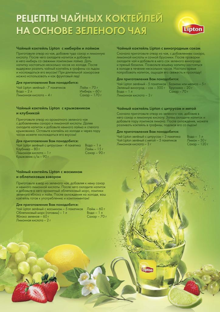 Рецепты чайных коктейлей Lipton