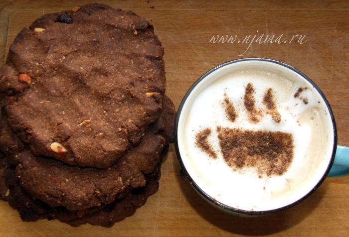 шоколадное печенье с солёными орехами