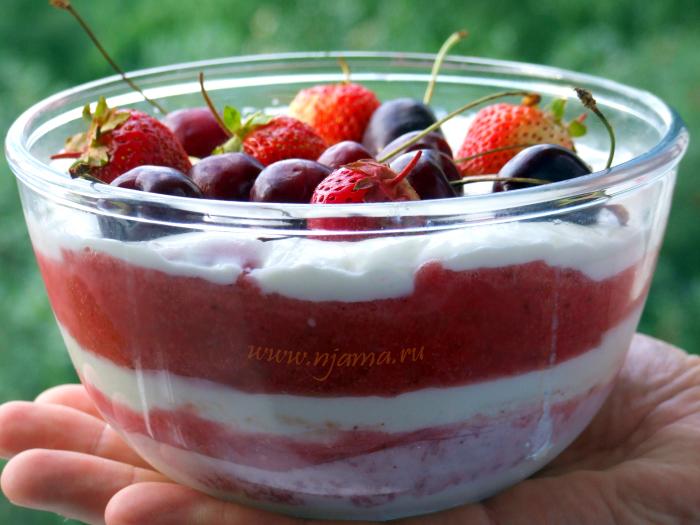 Сливочное желе с ягодами