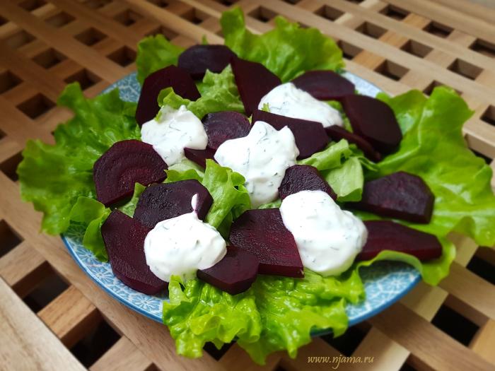 Салат со свеклой и творогом